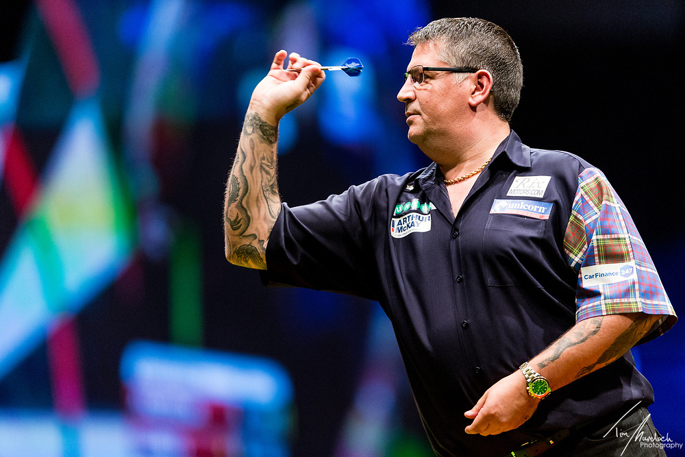 MELBOURNE, Australia - Saturday 19 August 2017: Gary Anderson during the quarter finals of the Unibet Melbourne Dart Masters at Hisense Arena on Saturday 19 August 2017.<br /> <br /> <br /> Photo Credit: Tim Murdoch/Tim Murdoch Photography