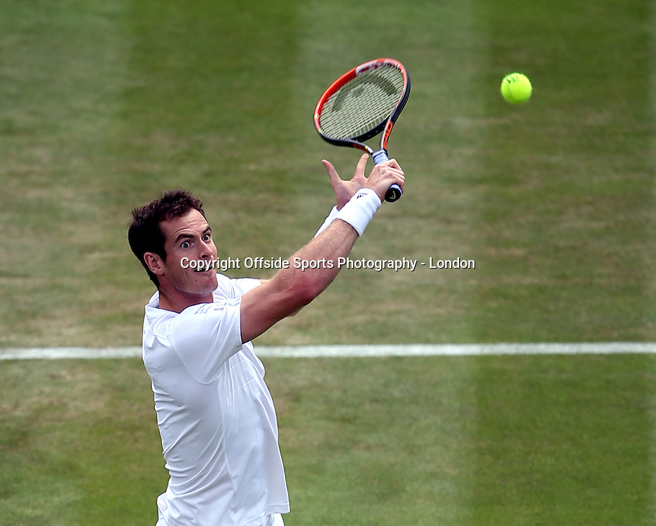 25 June 2014 Wimbledon Tennis - Andy Murray goes for a backhand volley.