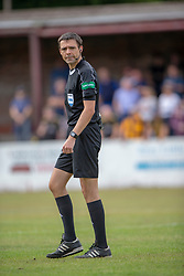 Referee Kevin Clancie. Livingston 1 v 0 Annan Athletic, Scottish League Cup Group F, played 21/7/2018 at Prestonfield, Linlithgow.