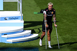 Jack Nowell of Exeter Chiefs walks off on crutches after picking up his losers medal after defeat to Saracens in the Premiership Rugby Final - Mandatory by-line: Robbie Stephenson/JMP - 01/06/2019 - RUGBY - Twickenham Stadium - London, England - Exeter Chiefs v Saracens - Gallagher Premiership Rugby Final