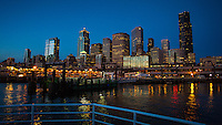 Seattle, Washington- October 2, 2014: The Seattle skyline at night from a water taxi. CREDIT: Chris Carmichael for the New York Times