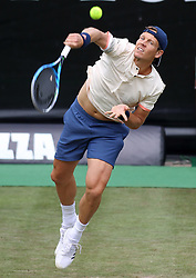 June 15, 2018 - Stuttgart, Germany - TOMAS BERDYCH of Czech Republic serves during the single's quarterfinal match of ATP Mercedes Cup tennis tournament against M. Raonic of Canada. Tomas Berdych lost 0-2. (Credit Image: © Philippe Ruiz/Xinhua via ZUMA Wire)