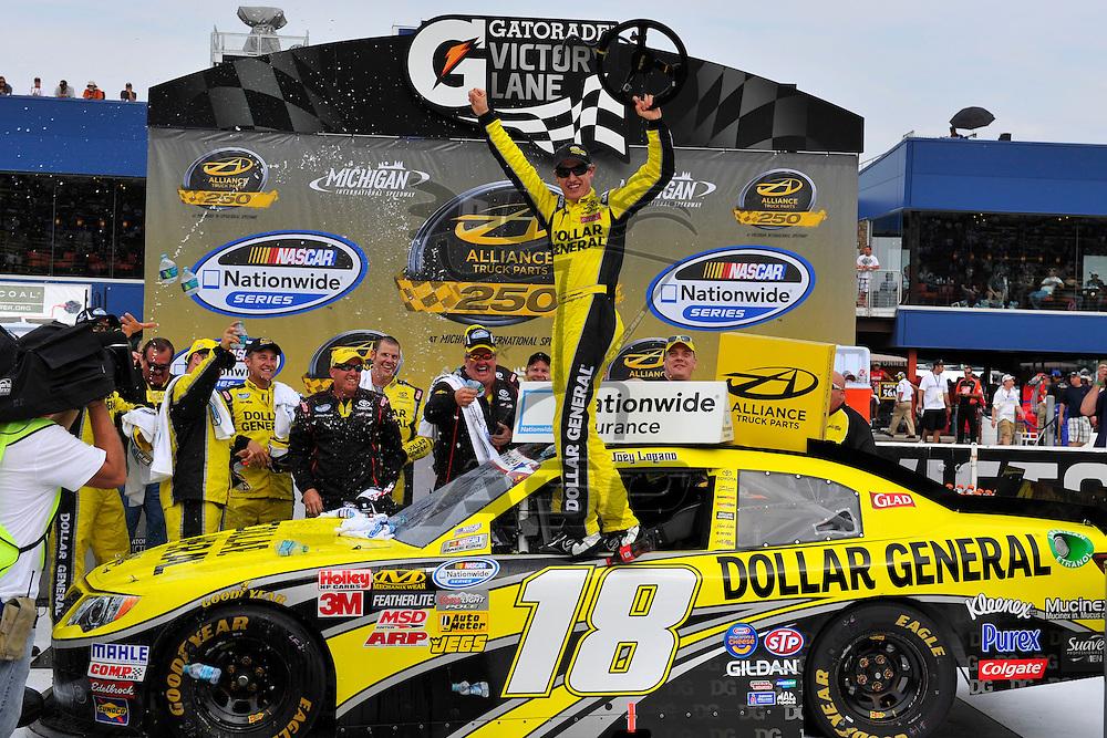 Brooklyn, MI - JUN 16, 2012: Joey Lagano (18) wins the Alliance Truck Parts 250  race at the Michigan International Speedway in Brooklyn , MI.