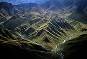 Aerial view of streams converging in Mountains - Denali N.P. Alaska