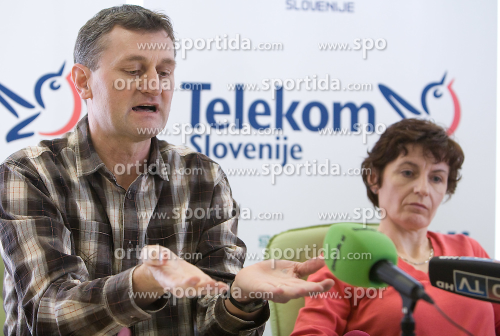 Coach Borut Podgornik and Helena Javornik at press conference after athlete H.Javornik accused by CAS because of positive doping test and forbidden to compete for 2 years long, on March 18, 2009, in AZS, Ljubljana, Slovenia. (Photo by Vid Ponikvar / Sportida)