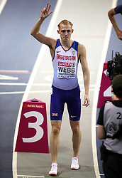 Great Britain's Jamie Webb prior to the start of the men's 800m semi final during day two of the European Indoor Athletics Championships at the Emirates Arena, Glasgow.