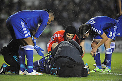Chelsea Kurt Zouma receives treatment for quite a while to his jaw after his collision with Derby Richard Keogh, Derby County v Chelsea, Capital One Cup Quarter Final, Score Derby 1(Bryson),  Chelsea 3 (Hazard, Luis, Schurrle) Pride Park Tuesday 16th December 2014