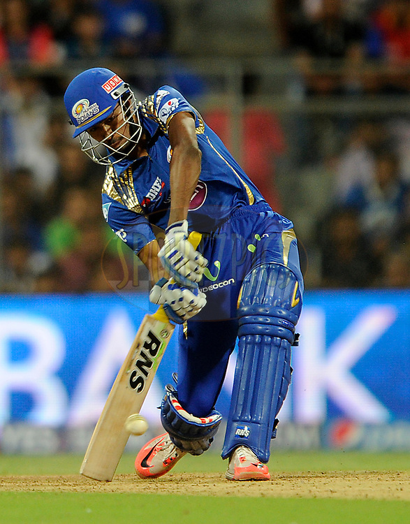 Hardik Pandya of Mumbai Indians bats during match 46 of the Pepsi IPL 2015 (Indian Premier League) between The Mumbai Indians and The Royal Challengers Bangalore held at the Wankhede Stadium in Mumbai, India on the 10th May 2015.<br /> <br /> Photo by:  Pal Pillai / SPORTZPICS / IPL