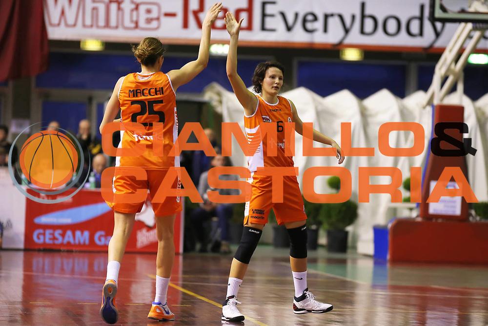 DESCRIZIONE : Lucca Lega A1 Femminile 2012-13 Final Four Coppa Italia 2013 Semifinale Famila Wuber Schio AcquaSapone Umbertide<br /> GIOCATORE : Giorgia Sottana Laura Macchi<br /> SQUADRA : Famila Wuber Schio<br /> EVENTO : Campionato Lega A1 Femminile 2012-2013 <br /> GARA : Famila Wuber Schio AcquaSapone Umbertide<br /> DATA : 09/03/2013<br /> CATEGORIA : esultanza<br /> SPORT : Pallacanestro <br /> AUTORE : Agenzia Ciamillo-Castoria/ElioCastoria<br /> Galleria : Lega Basket Femminile 2012-2013 <br /> Fotonotizia : Lucca Lega A1 Femminile 2012-13 Final Four Coppa Italia 2013 Semifinale Famila Wuber Schio AcquaSapone Umbertide<br /> Predefinita :