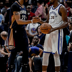 Oct 20, 2017; New Orleans, LA, USA; New Orleans Pelicans forward Anthony Davis (23) shakes hands with Golden State Warriors forward Kevin Durant (35) following a game at the Smoothie King Center. The Warriors defeated the Pelicans 128-120.  Mandatory Credit: Derick E. Hingle-USA TODAY Sports