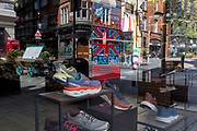As the number of people dying with Covid-19 in hospitals in England rises by another 665 to 16,272, and the UK experiences further lockdown by the UK government due to the Coronavirus pandemic, the deserted streets, businesses and retaillers including footwear brand Skechers on the corner of in Floral and James Streets in Covent Garden suffer further economic losses after forced closure, on 22nd April 2020, in London, England.