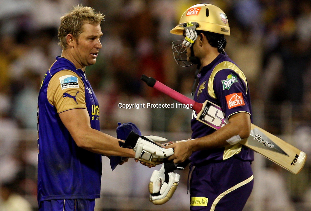 Kolkata Knight Riders Captain Sourav Ganguly Shekh Hend With Shane Warne After won by 8 wickets The Match Against Rajasthan Royals During The Kolkata Knight Riders vs Rajasthan Royals  Indian Premier League - 53rd match Twenty20 match | 2009/10 season Played at Eden Gardens, Kolkata 17 April 2010 - day/night (20-over match)