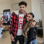 WASHINGTON, DC - MAR23: Washington Wizard Kelly Oubre, takes a selfie during a visit to the Duke Ellington School of the Arts, March 23, 2017. (Photo by Evelyn Hockstein/For The Washington Post)