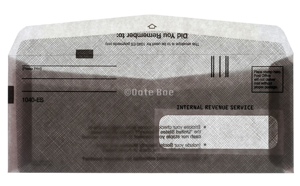 front view of an open USA Internal Revue Service envelope  for estimated tax for Individuals