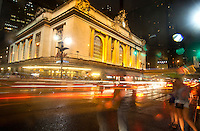 Chaos prevails after a night thunderstorm out Grand Central Station in New York City, USA
