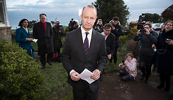 © Licensed to London News Pictures. 22/01/2018. Folkstone, UK. UKIP Leader HENRY BOLTON heads back to his hotel after giving a statement to the media in Folkestone, Kent following a series of resignations within the party. Bolton, who has only been leader of UKIP since September 2017, has come under pressure following unfavourable stories in the press about his personal life and the behaviour of his former girlfriend Jo Marney. Photo credit: Peter Macdiarmid/LNP