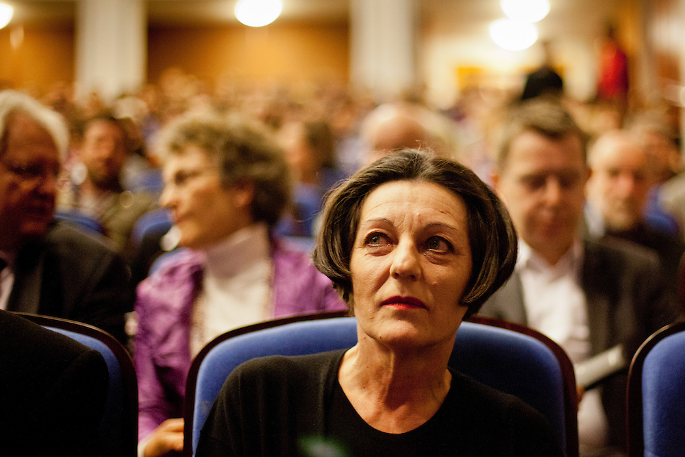 Herta Mueller - winner of the Literature Nobel Prize 2009 - during her reading at the The Prague Municipal Library.
