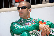 Indy Car driver Tony Kanaan seen in the pits during qualifications for the Indy 500.