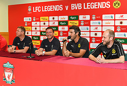 HONG KONG, CHINA - Thursday, June 6, 2019: Borussia Dortmund Legends' Karl-Heinz Riedle (R) with Liverpool FC Legends' Stephane Henchoz (L) and Vladimir Smicer (C) during a press conference at the Hong Kong Stadium ahead of an exhibition match between Liverpool FC and Borussia Dortmund. (Pic by Jayne Russell/Propaganda)
