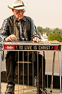 Crow Fair, Parade, Crow Indian Reservation, Montana, Steel Guitar, musician