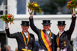 WERTH Isabell (GER), SCHNEIDER Dorothee (GER), VON BREDOW-WERNDL Jessica (GER)<br /> Balve - Longines Optimum 2019<br /> Siegerehrung<br /> Deutsche Meisterschaft Dressur<br /> Grand Prix Special<br /> 15. Juni 2019<br /> © www.sportfotos-lafrentz.de/Stefan Lafrentz