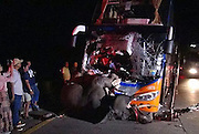 Elephant Killed, Driver Badly Hurt in Bangkok to Chiang Mai Bus Crash<br /> <br /> BANGKOK, Oct 1 (Bernama) — An eight-year old male elephant was killed and a bus driver critically injured last night after it was hit by an express bus carrying 25 passenger at Hang Chat district, Lampang province in northern Thailand.<br /> <br /> Col Virot Saeng-iem, Deputy Investigation Chief at Hang Chat Police Station, said that the incident occurred on the Lampang-Chiang Mai route at about 10pm (local time). All the passengers were not hurt.<br /> <br /> He said that the elephant named 'Plai Udom', had broke loose from its shelter and was hit by the express bus, while walking on the road.<br /> <br /> According to Virot, the bus driver, Narit Jittrong, 45,who was trapped in his seat due to the crash, could not see the elephant because it was dark.<br /> <br /> Rescue workers took about an hour to extricate Narit.<br /> <br /> Virot said that the elephant had earlier escaped from its shelter on Sept 8 while in the process of adjusting itself before being released back into the wildlife sanctuary in Hang Chat.<br /> ©Exclusivepix Media