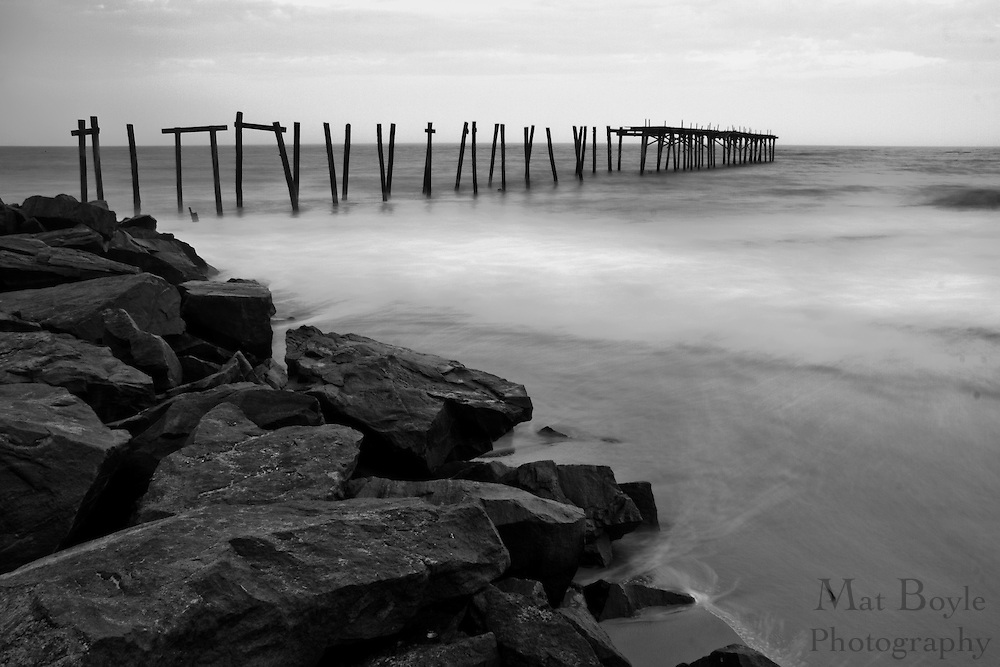 The crumbling 59th street pier in Ocean City NJ photographed before sunrise.