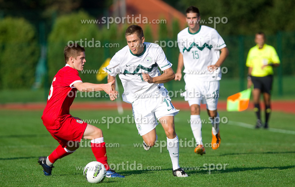 Declan Weeks of Wales vs Matej Pucko of Slovenia during U-19 football game between National teams of Slovenia and Wales in Qualifying Round 1 of European Under-19 Championship 2012, on September 26, 2011, in Slovenska Bistrica, Slovenia. Slovenia defeated Wales 3-2 and qualified to next round. (Photo by Vid Ponikvar / Sportida)