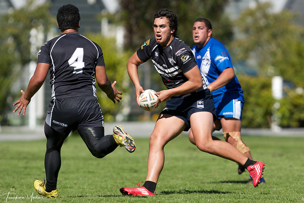 Cody Te Awa of Hornby Panthers looks to pass during the preseason Rugby league game between the Wakatipu Giants and Hornby U18s at the Jack Reid Park, Arrowtown, New Zealand. Saturday, March 17, 2012. Credit:Teaukura Moetaua / Media Sport