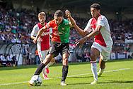 NIJMEGEN, NEC - Ajax, voetbal, Eredivsie seizoen 2015-2016, 23-08-2015, Stadion De Goffert, NEC speler NEC speler Mohamed Rayhi (M), Ajax speler Jairo Riedewald (R), Ajax speler Lasse Schone (L).