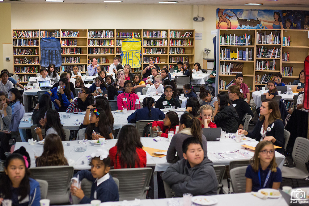 Dozens of students from all MUSD school set goals and make challenges during the Jack Emery Drive Brunch at Milpitas High School in Milpitas, California, on November 3, 2015. (Stan Olszewski/SOSKIphoto)