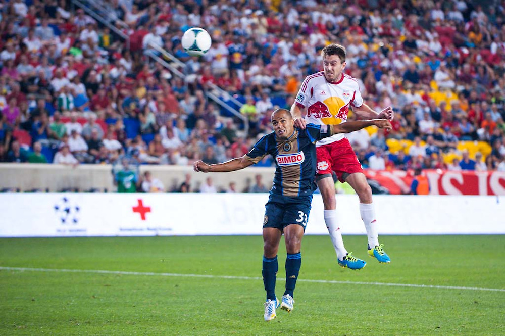 HARRISON, NJ - AUGUST 17:  Eric Alexander #12 of New York Red Bulls in action during the game against the Philadelphia Union at Red Bulls Arena on August 17, 2013. (Photo By: Rob Tringali)