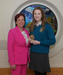 Sancta Maria College Awards 2018<br /> Drama award presented by Principal Pauline Moran to Croia McDermott.<br /> Pic Conor McKeown