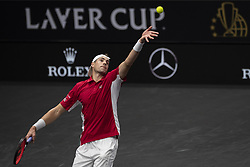 September 22, 2018 - Chicago, Illinois, U.S - Team World member JOHN ISNER of the United States serves during the first singles match between Team Europe and Team World on Day Two of the Laver Cup at the United Center in Chicago, Illinois. (Credit Image: © Shelley Lipton/ZUMA Wire)