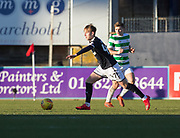 26th December 2017, Dens Park, Dundee, Scotland; Scottish Premier League football, Dundee versus Celtic; Dundee's Jack Lambert and Celtic's James Forrest