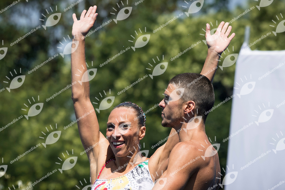 ITA Italy FLAMINI Manila MINISINI Giorgio gold medal<br /> Synchronised swimming , Synchro<br /> mixed duet tecnhical final<br /> 17/07/2017 <br /> XVII FINA World Championships Aquatics<br /> City Park - Varosliget Lake<br /> Photo @ Giorgio Perottino/Deepbluemedia/Insidefoto