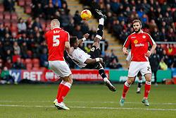 Kieran Agard of Bristol City has an acrobatic shot past George Ray of Crewe Alexandra - Photo mandatory by-line: Rogan Thomson/JMP - 07966 386802 - 20/12/2014 - SPORT - FOOTBALL - Crewe, England - Alexandra Stadium - Crewe Alexandra v Bristol City - Sky Bet League 1.