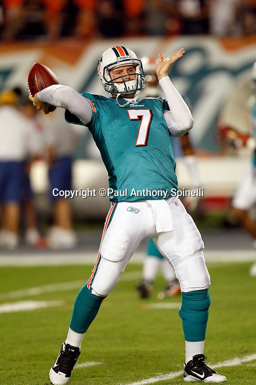 Miami Dolphins quarterback Chad Henne (7) throws a pregame pass during the NFL week 11 football game against the Chicago Bears on Thursday, November 18, 2010 in Miami Gardens, Florida. The Bears won the game 16-0. (©Paul Anthony Spinelli)