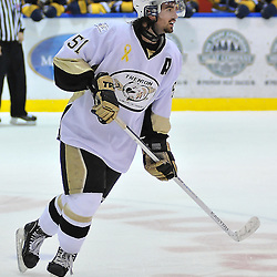 WHITBY, ON - Oct 7: Ontario Junior Hockey League game between Trenton Golden Hawks and Whitby Fury.  Robbie Hall #51 of the Trenton Golden Hawks during first period game action..(Photo by Shawn Muir / OJHL Images)