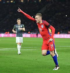 England's Jamie Vardy  celebrates after scoring his sides second goal  - Mandatory by-line: Matt McNulty/JMP - 26/03/2016 - FOOTBALL - Olympiastadion - Berlin, Germany - Germany v England - International Friendly