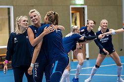 14-05-2019 NED: Training national volleyball team Women, Arnhem<br /> Dutch volleyball team women starts the training yesterday. There is a tough program ahead this summer. They starts with group matches of the VNL, then OKT in Catania in Italy, Worldcup in Japan and the European Championship played in Hungary / Kirsten Knip #1 of Netherlands, Laura Dijkema #14 of Netherlands, Nika Daalderop #19 of Netherlands