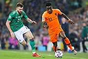 Netherlands forward Quincy Promes (11) and Northern Ireland midfielder Stuart Dallas (14) during the UEFA European 2020 Qualifier match between Northern Ireland and Netherlands at National Football Stadium, Windsor Park, Northern Ireland on 16 November 2019.
