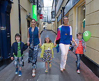 Catwalk models Jeovanca and Siobhan Mullooly with Performing Arts  school Galway members Adam O Connor, Amy Ciuche and David Kenny at the opening of United Colors of Benetton Store in Anthony Ryan's. Photo:Andrew Downes