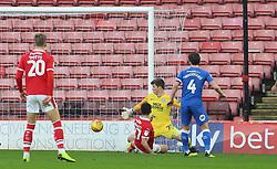 Alex Mowatt of Barnsley scores the opening goal of the game past Conor O'Malley of Peterborough United - Mandatory by-line: Joe Dent/JMP - 26/12/2018 - FOOTBALL - Oakwell Stadium - Barnsley, England - Barnsley v Peterborough United - Sky Bet League One