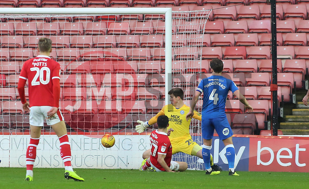 Alex Mowatt of Barnsley scores the opening goal of the game past Conor O'Malley of Peterborough United - Mandatory by-line: Joe Dent/JMP - 26/12/2018 - FOOTBALL - Oakwell Stadium - Barnsley, England - Barnsley v Peterborough United - Sky Bet League One