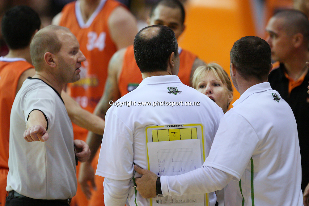 Coach Mike Kalavros of the Jets is held back during an altercation with the referee in the NBL national basketball league, Zero Fees Southland Sharks v Telecom Business Hub Manawatu Jets, Stadium Southland Velodrome, Invercargill, New Zealand, Friday, June 07, 2013. Photo: Dianne Manson / photosport.co.nz