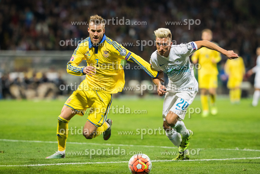 Andriy Yarmolenko (UKR) vs Kevin Kampl (SLO) during the UEFA EURO 2016 Play-off for Final Tournament, Second leg between Slovenia and Ukraine, on November 17, 2015 in Stadium Ljudski vrt, Maribor, Slovenia. Photo by Ziga Zupan / Sportida