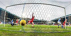 Aberdeen&rsquo;s Adam Rooney cele scoring their first goal.  <br /> St Johnstone 3 v 4Aberdeen, SPFL Ladbrokes Premiership played 6/2/2016 at McDiarmid Park, Perth.