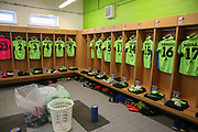 The home dressing room during the Vanarama National League Play Off second leg match between Forest Green Rovers and Dagenham and Redbridge at the New Lawn, Forest Green, United Kingdom on 7 May 2017. Photo by Shane Healey.