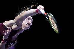 October 23, 2018 - Singapore, Singapore - Kiki Bertens of the Netherlands serves during the match between Angelique Kerber and Kiki Bertens on day 2 of the WTA Finals at the Singapore Indoor Stadium. (Credit Image: © Paul Miller/ZUMA Wire)